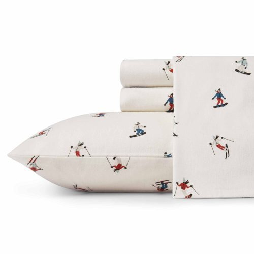 Eddie Bauer Ski Slope Twin Size Flannel Sheet Set, Twin, Multi
