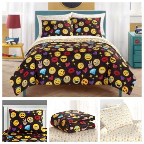Emoji Girls Complete 7 Piece Reversible Bedding Comforter Set Queen