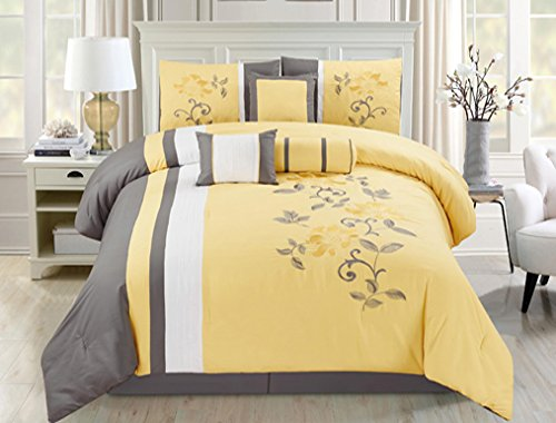 Homemusthaves 7 PC Comforter Set Floral Modern Style with Bed Skirt Pillow Shams Square Pillow Breakfast Cushion Neck Roll King, Yellow Floral Bedding