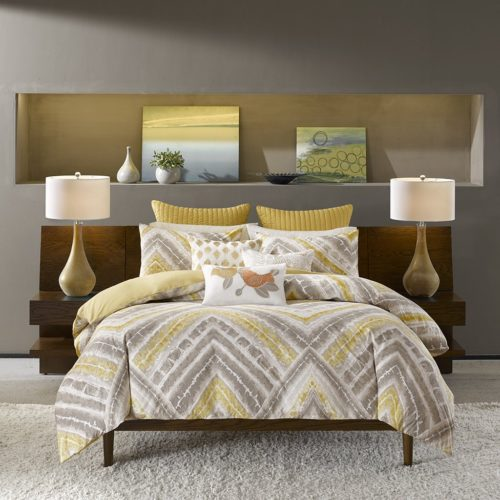INK+IVY II10-560 Cornwall 3 Piece Comforter Mini Set, Full-Queen, Yellow Queen Bedding