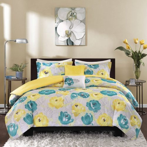 Intelligent Design ID10-370 Comforter (Set), Twin Twin X-Large, Teal Yellow Floral Bedding