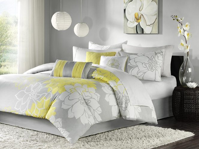 Madison Park Lola Comforter Set, Queen, Grey-Yellow