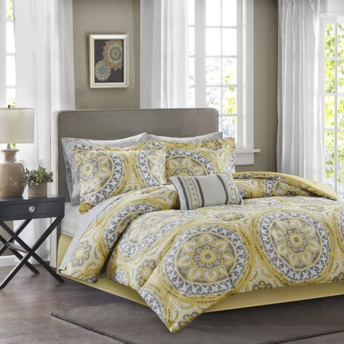 Madison Park MPE10-147 Essentials Serenity Complete Bed & Sheet Set Queen, Yellow Queen Bedding