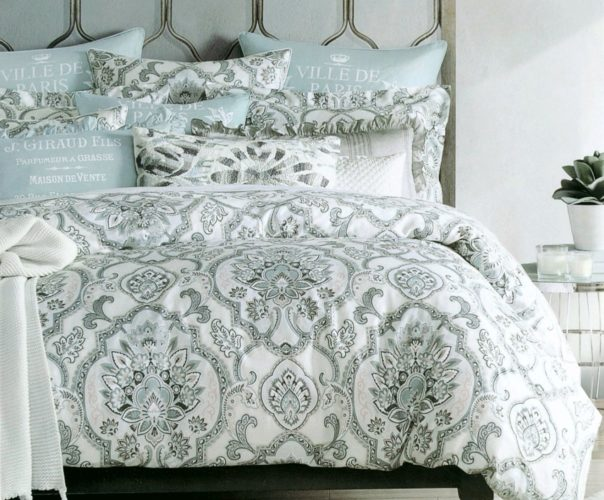 Boho Chic Bedding, Tahari Home Duvet Quilt Cover Bohemian Style Bedding Moroccan Paisley Damask Medallion Print Cotton Sateen 3 Piece Bedding Set (Queen, Seafoam Blush)