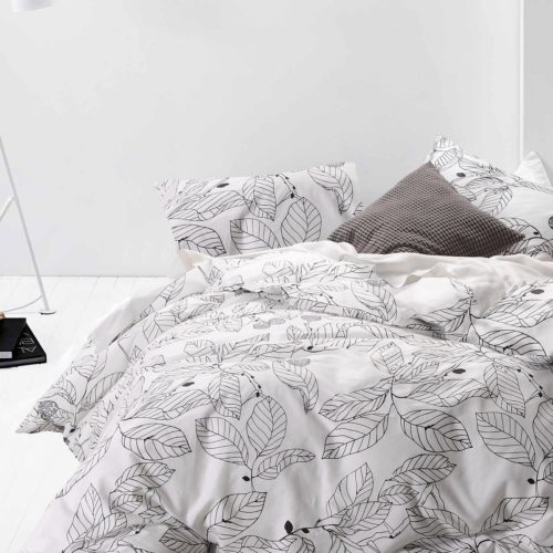 queen black and white bedding - 100% Cotton, 3pcs White Duvet Cover Set, Black Tree Leaves Pattern Printed Bedding (Queen Size)