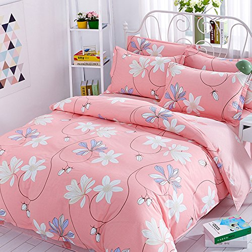 100-percent Cotton Bedding Sets 4 Pieces Pink Pastorale Style Printed Duvet Cover Pillow Cases Bed Sheet Queen Pattern6