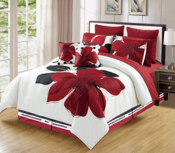 Burgundy Comforter Sets - 12 - Piece Burgundy Red Black White floral Bed-in-a-bag KING Size Bedding + Sheets + Accent Pillows Comforter set
