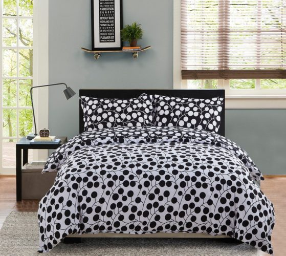 black and white polka dot bedding - 3 Piece Duvet Cover and Pillow Shams Bedding Sets, (King(90inchx104inch), Circle Black and White)