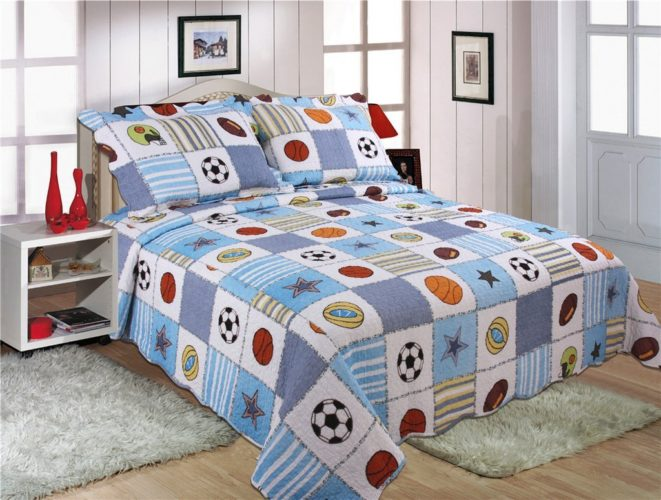 Red White and Blue Boys Bedding - 3 Pieces Sport Basketball Football All Star Patchwork Bedspread Quilt Set Queen