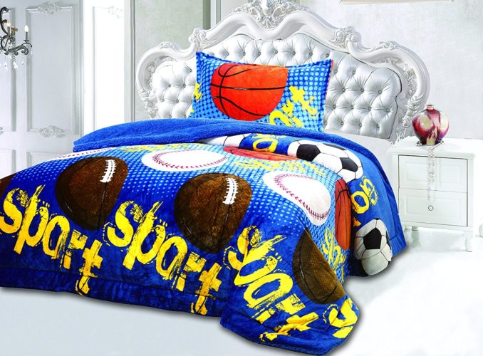 All American Collection New Super Soft and Warm 2 Piece Borrego-Sherpa Blanket Vanessa Twin Size (Sport Blue) - Red White and Blue Boys Bedding
