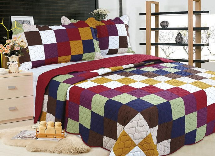 Burgundy Bedspreads - All for You 3-piece Reversible Bedspread Coverlet Quilt Set- OverSize( to the floor)-Real patchwork-Burgundy back (king, California King)