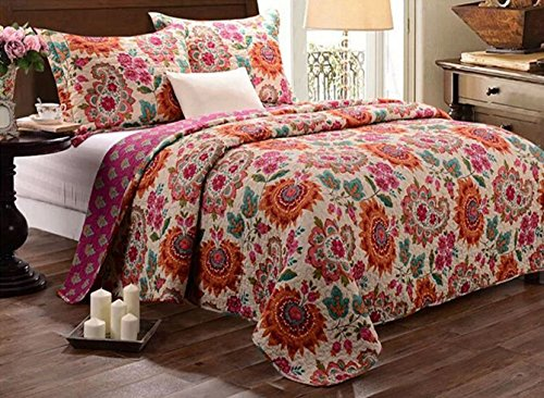 Burgundy Bedspreads - Babycare Pro Bohomian Style Paisley and Flower Print Queen Size Quilt Sets, Cotton Quilted Bedspread Bedding Sets Queen Size 3 Pieces, 1 Quilt, 2 Pillowcase