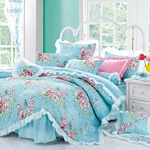 Best Bedding set 4- Piece Cotton Printed Pink Rose Floral Lace Duvet Cover Sets (Duvet Cover+Bed Sheet+Pillow Cases) For Girls Blue Queen - blue shabby chic bedding