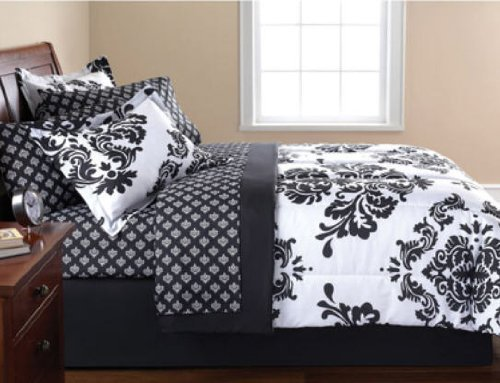 Black & White Damask Comforter Twin & Sheet Set (6 Piece Bed In A Bag)