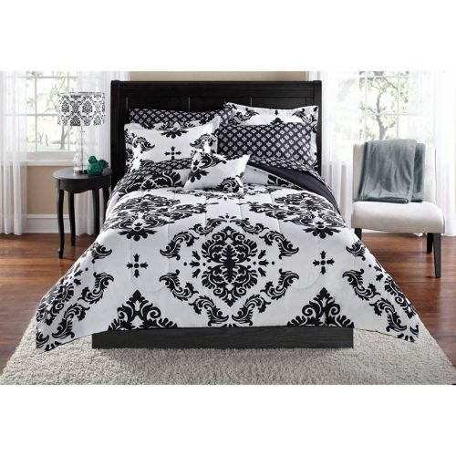 Black & White Damask Comforter Twin-Twin XL Comforter & Sheet Set (6 Piece Bed In A Bag)