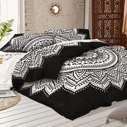 black and white duvet covers - Black and white Mandala Duvet Cover With Two Pillow Covers - Bohemian Doona set- Indian Reversible Quilt Cover By RawyalCrafts