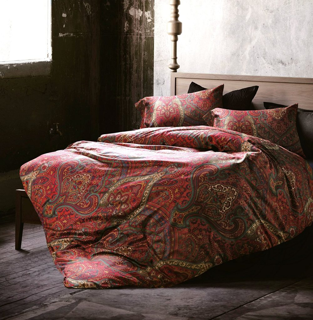 Boho Paisley Print Luxury Duvet Quilt Cover and Shams 3pc Bedding Set Bohemian Damask Medallion 350TC Egyptian Cotton Sateen (King, Red)