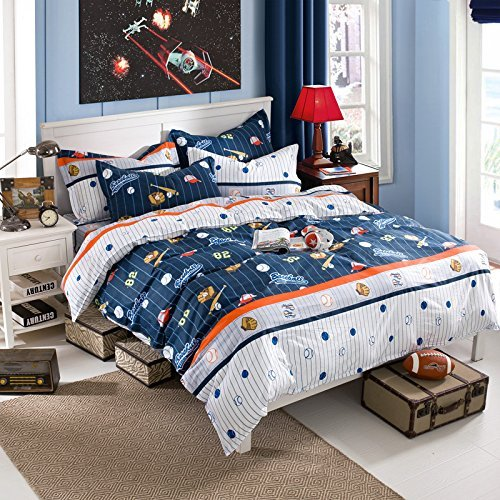 Red White and Blue Boys Bedding -Brandream Kids Boys Baseball Bedding Set Cartoon Duvet Cover Full Size -