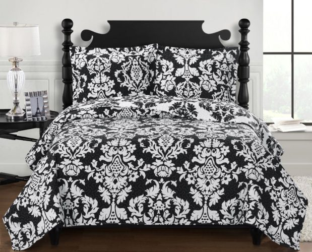 black and white coverlet - Catherine Black with White, Full-Queen Over-Sized Reversible Quilt 3pc set, Luxury Microfiber Printed Coverlet, Bedspread