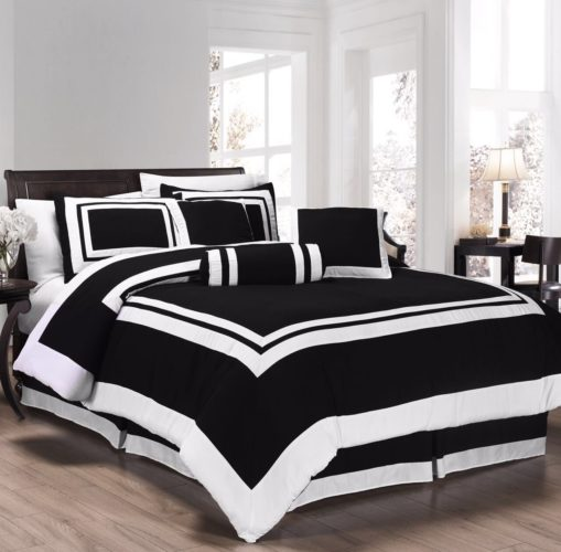 Elegant Black and White Bedroom Ideas - Chezmoi Collection 7 Pieces Caprice Black-White Square Pattern Hotel Bedding Comforter Set (Queen, Black-White)