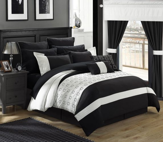 black and white comforter king - Chic Home 25 Piece Lorde Complete Embroidery Comforter Set, King, Black
