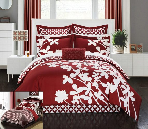 Chic Home 7 Piece Iris Reversible Large Scale Floral Design Printed with Diamond Pattern Reverse Comforter Set, King, Red