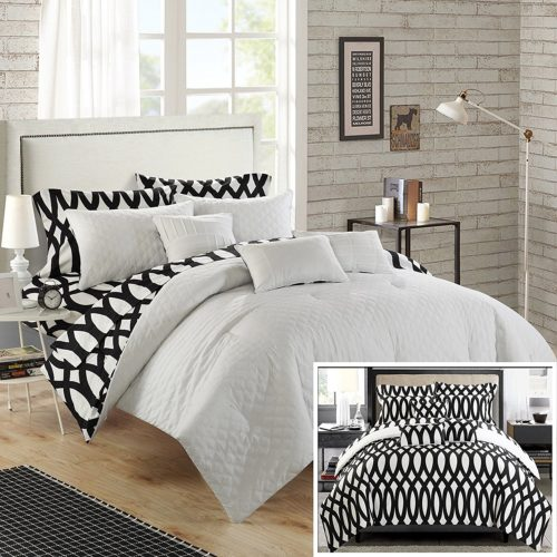 black and white quilt set - Chic Home 8 Piece Holland Diamond Quilted Embroidered With Contemporary REVERSIBLE printed backside Twin Bed In a Bag Comforter Set Beige Includes 3 Piece Sheet