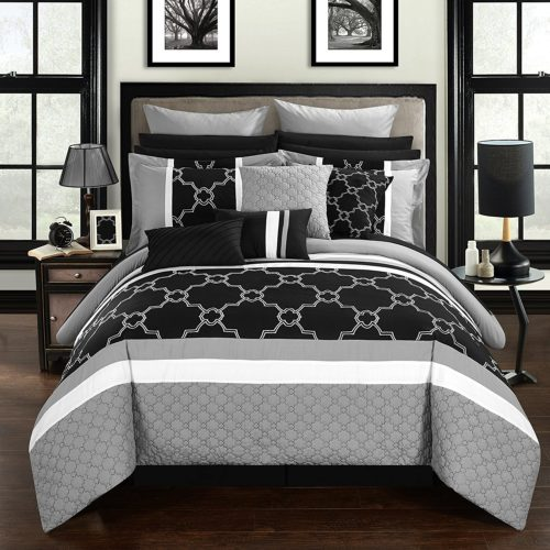 black and white comforter sets queenblack and white comforter sets queen - Chic Home CS2827-AN Camilia 16 Piece Bed in A Bag Comforter Set, Black, Queen