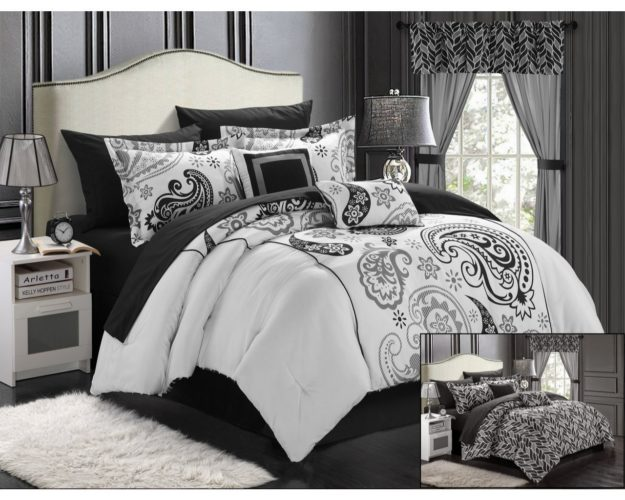 black and white comforter king - Chic Home Olivia 20-Piece Comforter Set Reversible Paisley Print Complete Bed in a Bag with Sheet Set, Window Treatments, and Decorative Pillows, King Black-White