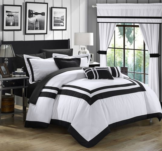 black and white comforter king - Chic Home Ritz 20 Piece Comforter Set Color Block Bed in a Bag with Sheets Curtains, King White