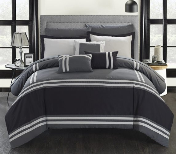 black and white comforter sets queen - Chic Home Zarah 10 Piece Comforter Set Complete Bed in a Bag Pieced Color Block Banding Bedding with Sheet Set And Decorative Pillows Shams Included, Queen