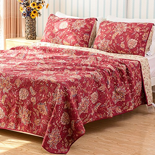 Burgundy Bedspreads - Classic Bedding Sets 3 Pieces Cotton Printing Floral Patchwork Quilt Set Queen King Red
