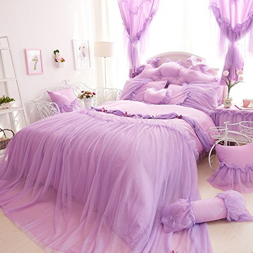 Cute Girl Bed Set 100% Cotton Princess Ruffled Lace Duvet Cover Sets (Duvet Cover+Bed Skirt+Pillow Cases) Queen Purple - purple shabby chic bedroom