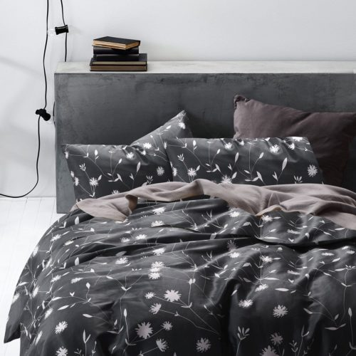 black and white duvet cover queen - Dark Gray Duvet Cover Set,100% Cotton Bedding, White Floral Flower Pattern Printed on Grey with Zipper Closure and Corner Ties (Queen Size)