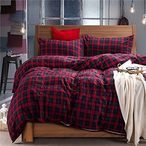 Deep Sleep Home 100% Cotton Flannel Fabric 300 Thread Count Percale Dark Red Blue Plaid Design 4pc Duvet Cover Set Christmas Gift Wrinkle Resistance Full-Queen Size(Queen, Dark Red-ED