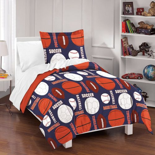 Red White and Blue Boys Bedding -Dream Factory All Sports Comforter Set, Full-Queen, Navy