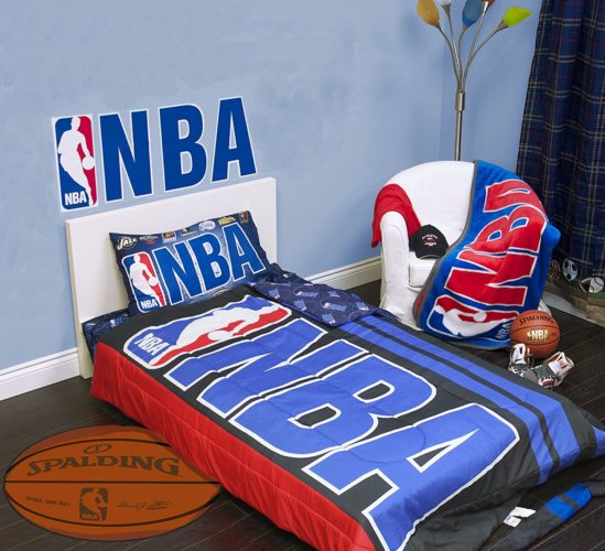 Exclusive NBA Basket Ball Collection 4 Pcs Twin Comforter Quilt & Sheet Set Official Licensed New - Red White and Blue Boys Bedding