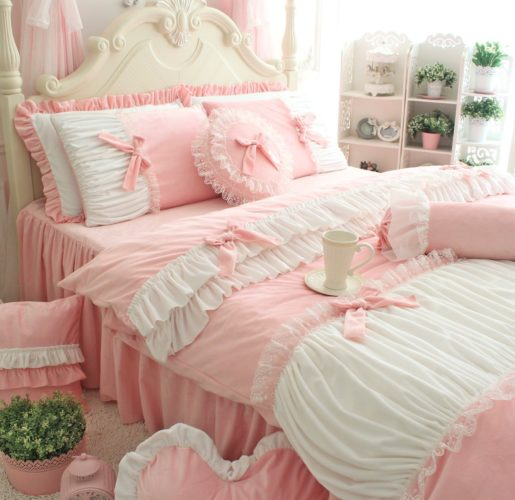 FADFAY Cute Girls Short Plush Bedding Set Romantic White Ruffle Duvet Cover Sets 4-Piece,Pink Full 2 - victorian bedding collections