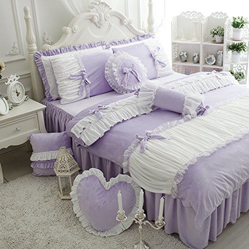FADFAY Cute Girls Short Plush Bedding Set Romantic White Ruffle Duvet Cover Sets 4-Piece,Purple Twin - shabby chic purple bedroom