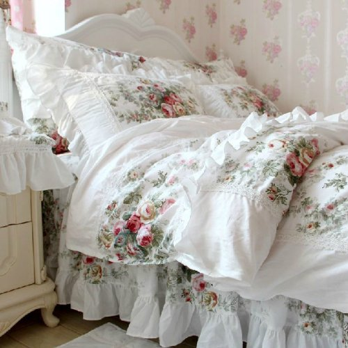 FADFAY Home Textile,New European Vintage Floral Rose Bedding Set,Shabby Floral Country Style Bedding Set,White Lace Ruffle Bedding Sets - victorian bedding collections
