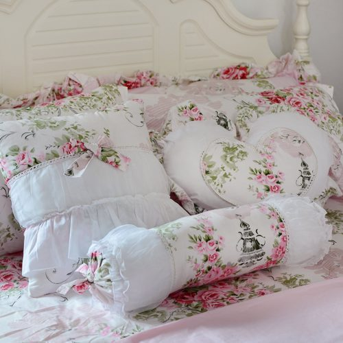 FADFAY Romantic Pink Floral Throw Pillows Candy Heart Square Shaped Sofa Bed Throw Pillows,3 Pieces (Square Pillow,Candy Pillow, Heart Pillow) - shabby chic vintage bedding