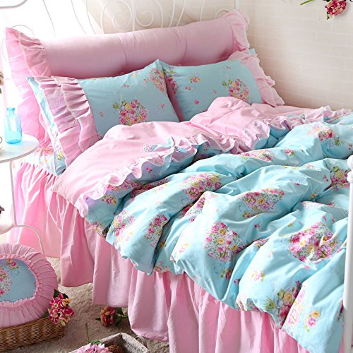 FADFAY Rose Floral Print Bedding Set Pink Ruffle Blue Bed Duvet Cover Sets Teen Girls Bedroom Sets Queen 4PCS - shabby chic vintage bedding collections