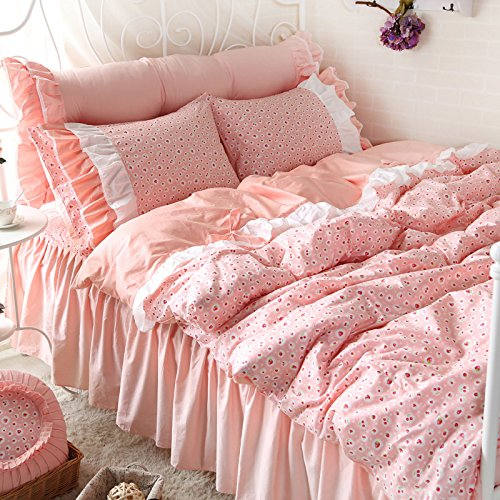 FADFAY Strawberry Shabby Pink Bedding Set Ruffled Teen Girls Cotton Duvet Sets 4PCS Queen - shabby chic vintage bedding collections