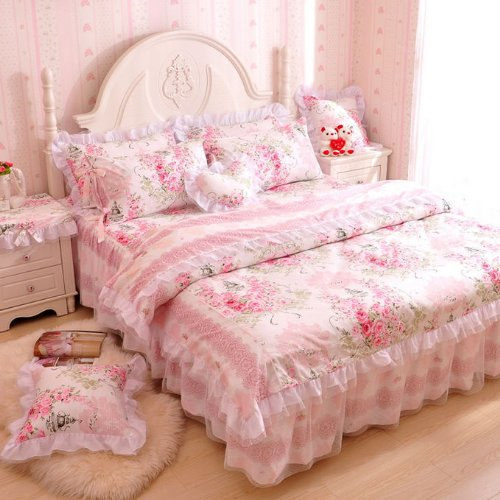 FADFAY,Romantic Flower Print Bedding Set,Floral Bed Set,Princess Lace Ruffle Duvet Cover King Queen Twin,4Pcs - victorian bedding collections