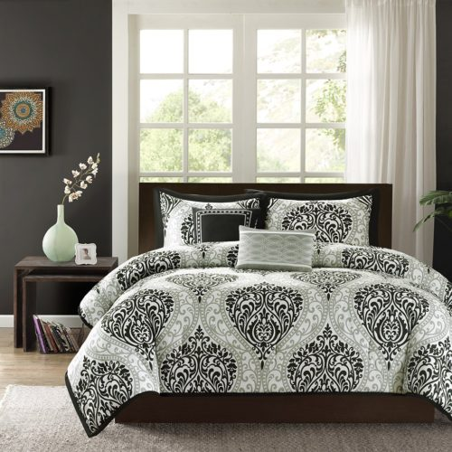 black and white comforter twin - Intelligent Design - Senna -All Seasons Comforter Set -4 Piece - Aqua - Damask Pattern - Twin-TwinXL Size