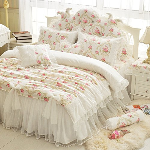 LELVA Girls Bedding Set Lace Ruffle Duvet Cover Princess Bedding Set Vintage Floral Print Duvet Cover Twin Full Queen King (Twin, White) - victorian bedding collections