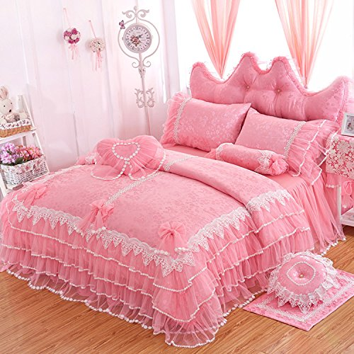 LELVA Girls Bedding Set Ruffle Lace Bedding Set Bedding Set Beautiful Princess Wedding Bedding Set (Twin, Pink) - victorian bedding collections