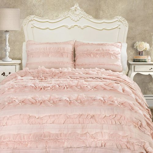 Lush Decor C43417P15-000 Belle 3 Piece Quilt Set, Full-Queen, Pink Blush - victorian bedding collections