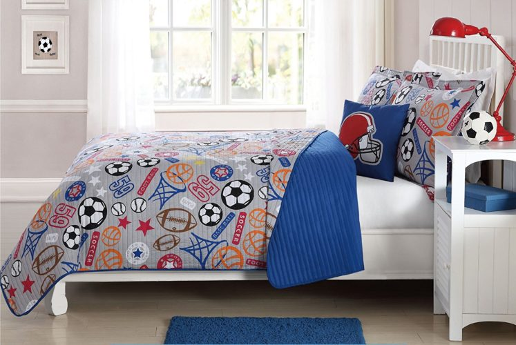 MarCielo 3 Piece Kids Bedspread Quilts Set Throw Blanket for Teens Boys Girls Bed Printed Bedding Coverlet, Twin Size (Football Super Star) - Red White and Blue Boys Bedding