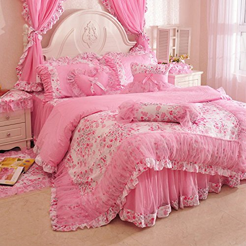 MeMoreCool Home Textile Elegant Design Pastoral Style Floral Lace Princess Bedding Set Girly Ruffle Duvet Cover Fashion Exquisite Falbala Bed Skirt Queen Size 4Pcs 2 - shabby chic vintage bedding collections